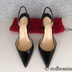 Christian Louboutin Shoes - 85mm Pointed Toe Sling Back pumps black patent